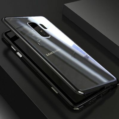 Magnetic Absorption Metal Bumper Glass Case Cover for Samsung Galaxy S9 S8 Plus
