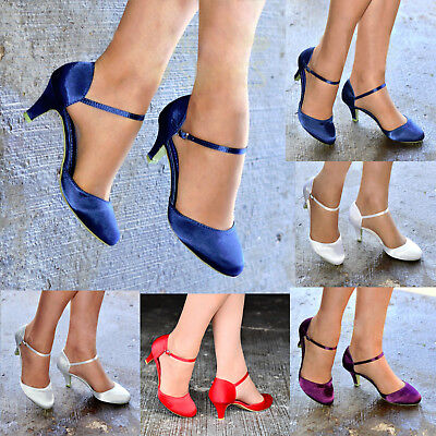 Womens Satin Low Kitten Heel Full Toe Strappy Bridal Wedding Shoes Sizes 3-8