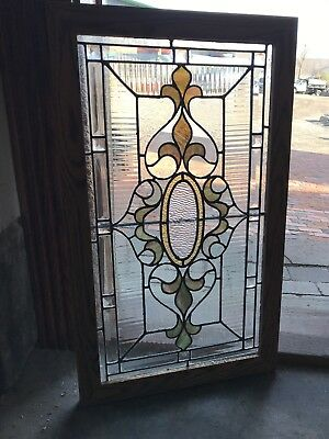 SG 2722 antique textured stained and beveled glass transom window 18 x 30