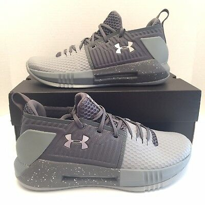 4f5a0e89d215 New Under Armour UA Drive 4 Low Basketball Shoes Gray Size 10 Mens  3000086-110