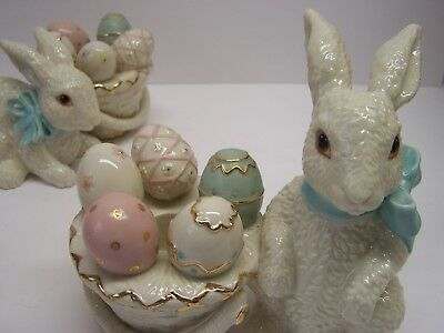 Pair Vintage Lenox Easter Bunny Candlesticks Candle Holders 2005 Rare