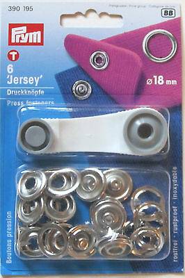 Press Stud Fasteners 18mm Ring Jersey Silver Coloured 6 Pieces ~ Prym