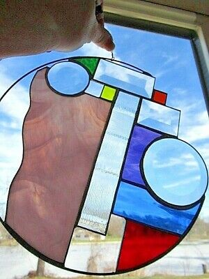 UNIQUE!!! Art Stained Leaded Glass Geometric/Circular Window Hanging Unique