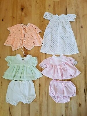 Lot Of Vintage Baby Dresses 0-3 Months- Lace, Ruffles, Rosette Crocheted Sweater