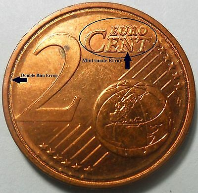 ERRORS! - 2010 GREECE  2 EURO CENT - With two Different Errors ***UNC***