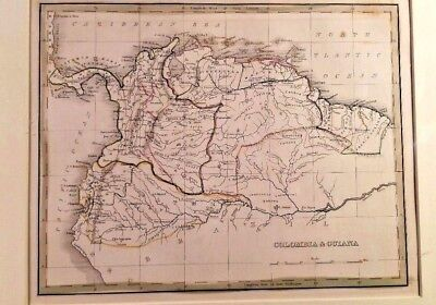 Lithograph Hand Colored 1835 MAP of COLOMBIA & GUIANA  South America