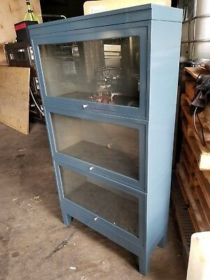 Barrister Mid-Century Modern Metal Stacking Barrister's Bookcase