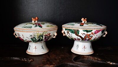 Large pair of late Chinese Qing Dynasty Tongzhi porcelain stem bowls famille ros