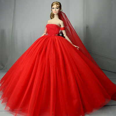 Lace Wedding Dress for Girl Doll Clothes Princess Evening Party Gown 1/6