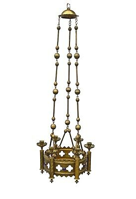 Antique Brass Gothic Revival 6 Candle Church Chandelier, French.