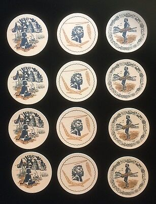 Vintage Retro Aboriginal Motif Bar Coasters x 12 Three Designs 1970s 9cm wide