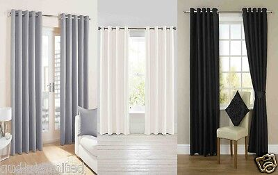 New Ring Top Fully Lined Pair Eyelet Curtains Black Grey Silver White Gold
