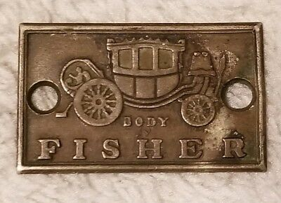 Vintage Brass Body By Fisher Emblem Attachment Doir Sill Plate Tag Cadillac