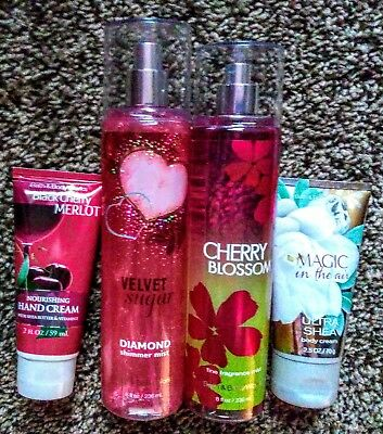 4Pc Bath & Body Works Lot Shimmer/Body Mist/Hand Cream/Body Cream Mix Scents