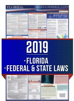 2019 Florida State and Federal Labor Law Laminated Poster FAST FREE SHIPPING!!
