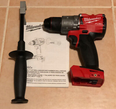 """New Milwaukee M18v FUEL1/2"""" Brushless Hammer Drill With Handle 2804-20 TOOL ONLY"""