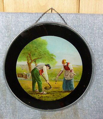 """Antique Lithograph Flue Cover Farming Couple Sowing Seeds 7 3/4"""""""
