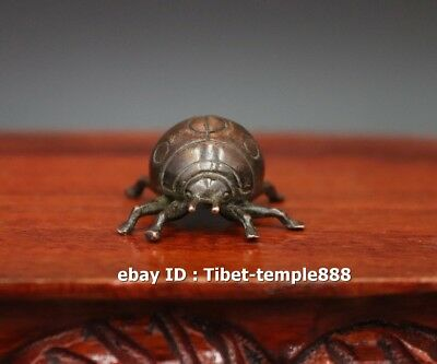 3 CM Chinese red Copper Insect Fengshui Animal coccinella septempunctata Statue
