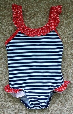 H&M baby girl one-piece swimwear red/blue bow stripe 2-6 Mnth fits 6-12 mnth New