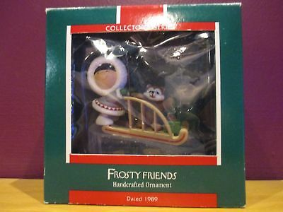 1989 Frosty Friends ornament Hallmark Eskimo dog sled adorable  10th in series