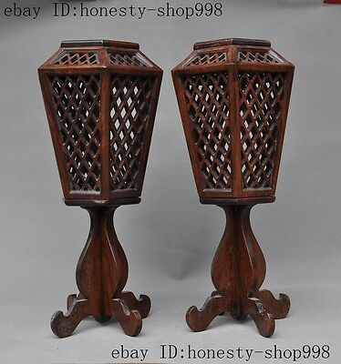 "16""Huanghuali wood Carved Auspicious Candlestick Candle holders Palace lanterns"