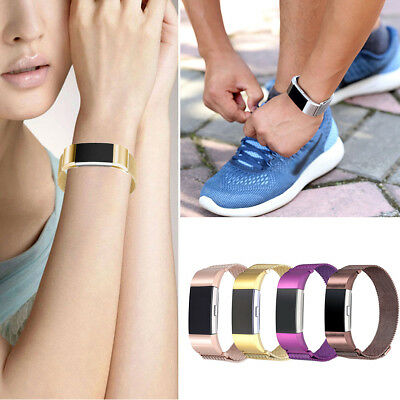 For FitBit Charge 2 Wristband Metal Stainless Milanese Magnetic Loop BandStrap E