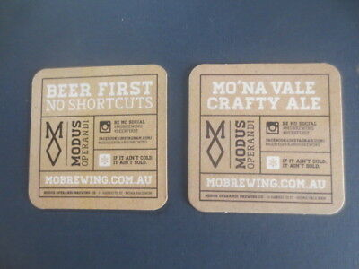 2 different MODUS OPERANDI BREWING CO, N.S.W.  issue Beer Coasters