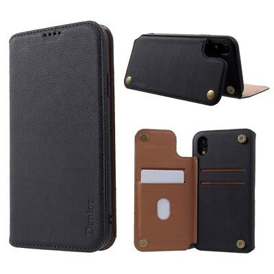 DENIOR Genuine Leather Card Holder Case Cover with Kickstand for iPhone XR 6.1