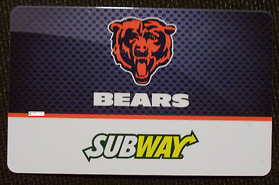 New Unused Subway Chicago Bears NFL Football Collectible Gift Card No Cash Value