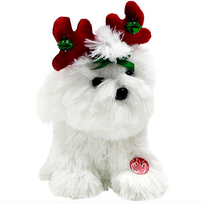 Maltese Holiday Animated Musical Lively Spinning Puppy Dog Christmas Toy