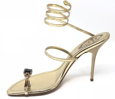 3dc319d99f23c Rene Caovilla Gold Coiled Strap Heel Sandals w  Green Gemstone Toe Acc Size  41