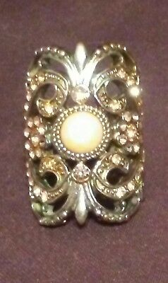 Vintage Yellow Gold Tone Statement Ring with Pink Rhinestones Size 7.5