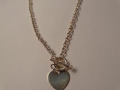 """Sterling Silver Rolo Link 16"""" Necklace w/Heart Dangle & Toggle Closure*"""