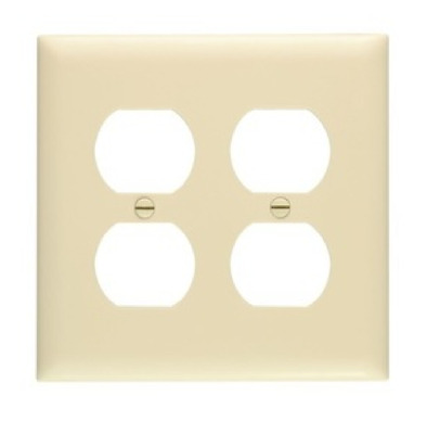Pass and Seymour TP82-I Duplex Receptacle Wall Plate, 2 Gang, Nylon, Ivory