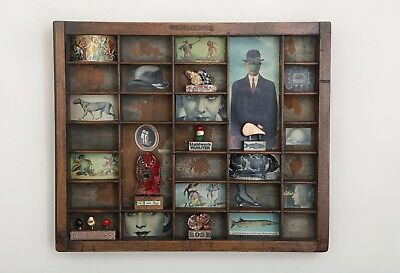 Small Printers Tray Cabinet of Curios Themed Artwork with Small Collectables