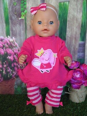 """Dolls clothes  for 17"""" Baby Born  doll~PEPPA PIG PINK TOP~ STRIPE LEGGINGS~H'BOW"""