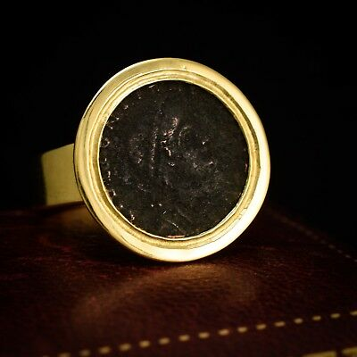 Ancient Roman Siliqua Coin Signet Ring 18k Gold c1820