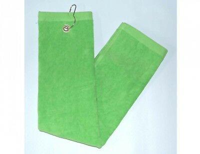 Lime Green Tri-Fold Golf, Hand Towel w/Grommet & Hook. Terry Town