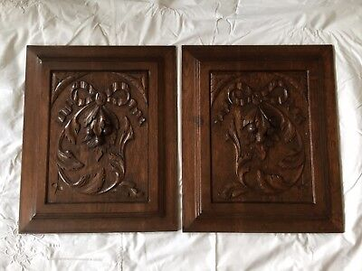 Pair of Antique French Carved Wood Architectural Panel Door w/ ribbon