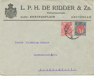 NL 1919 Queen Wilhelmina 5 C and 15 C, rare mixed postage on Advertising cover