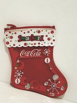 SMACKERS 1 EMPTY BAG Coin Purse COCA-COLA Holiday/Christmas RED+WHITE STOCKING