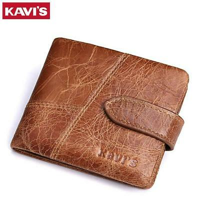 New 100% Genuine Leather Men Wallet Small Short Coin Zipper Card Holder Wallets