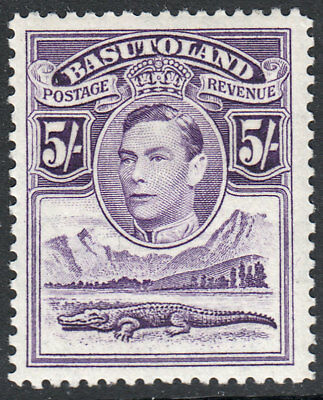 Basutoland KGVI 1938 5/- 5s Violet SG27 Mint Lightly Hinged