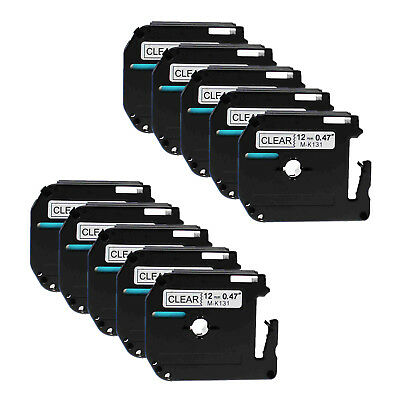"""10PK MK131 Black on Clear M-K131 Label Tape for Brother P-Touch PT-70 12mm 1/2"""""""