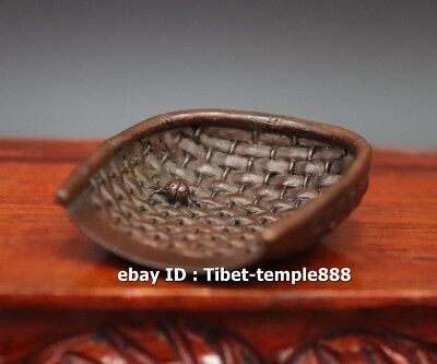 6 CM China red Copper Animal insect coccinella septempunctata Dust Pan sculpture
