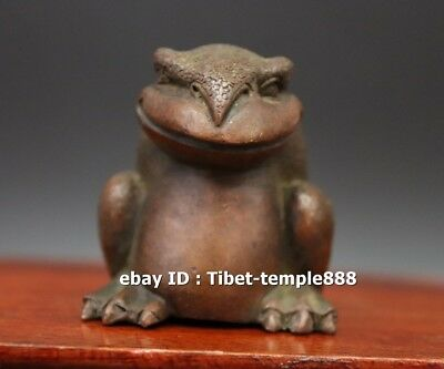 6 CM red Copper China three Leg Money toad bufonid smile Fengshui Animal Statue