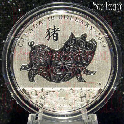 2019 - Year of the Pig (猪) - $10 1/2 OZ Pure Silver Specimen Coin - Canada
