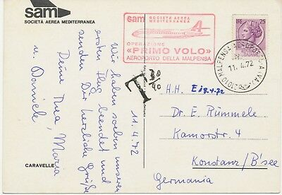 ITALY 1972 Italia turrita 25L VF postcard FIRST FLIGHT SAM Societa Aerea Mediter