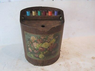antique sewing box and spool holder