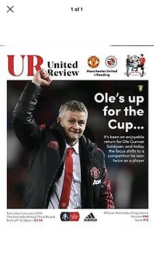 Manchester United Man Utd vs Reading 2018/19 2019 FA Cup Programme